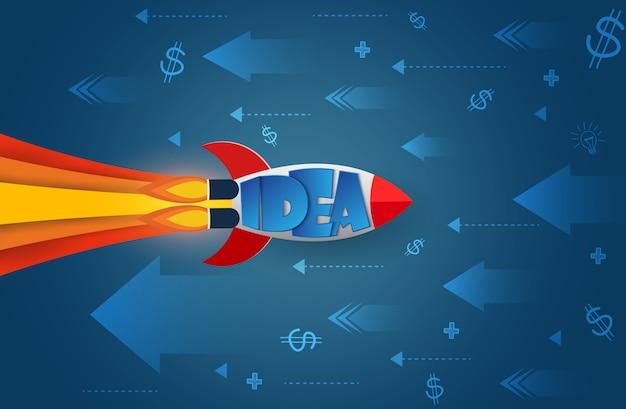 Lo space shuttle si dirige nella direzione opposta la freccia e l'icona vanno verso l'obiettivo per raggiungere il successo