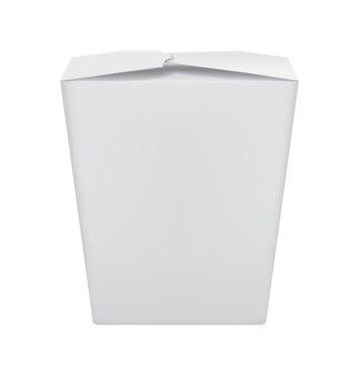 Lo spazio in bianco realistico porta via il contenitore per alimenti del wok