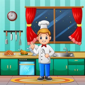 Lo spettacolo dello chef va bene e i piatti pronti per essere serviti
