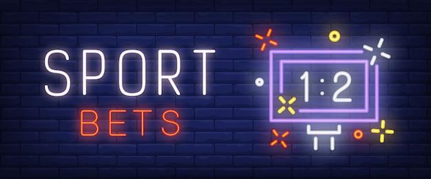 Lo sport scommette il testo al neon con il tabellone segnapunti