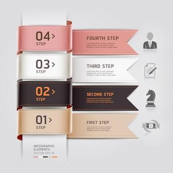 Lo stile astratto del nastro del modello di infographics di affari può essere usato per la disposizione di flusso di lavoro, il diagramma, le opzioni di numero, intensificare le opzioni, web design
