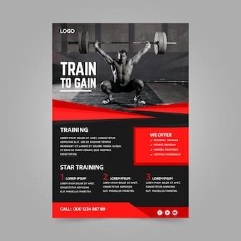 Lo stile del poster sportivo inizia l'allenamento