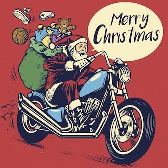 Lo stile di disegno a mano di babbo natale cavalca una moto per consegnare il regalo di natale