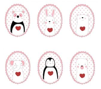 Lo stile disegnato a mano di cartone animato animale simpatico personaggio