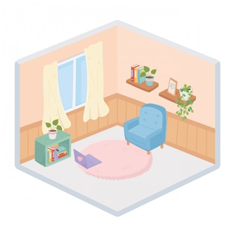 Lo stile isometrico della finestra delle tende del tappeto dei libri dello scaffale per libri delle piante domestiche dolci del sofà