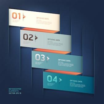 Lo stile moderno di origami della freccia aumenta il modello di opzioni di numero. layout del flusso di lavoro, diagramma, web design, infografica.