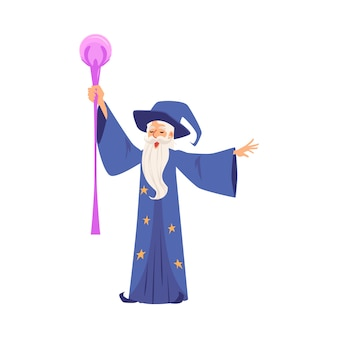 Lo stregone o il mago crea l'illustrazione piana magica di vettore isolata su bianco.
