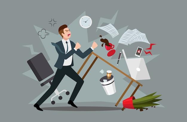 Lo stress sul posto di lavoro. uomo d'affari furioso sperimentando esaurimento nervoso o esaurimento professionale in ufficio, gettando mobili e urlando, illustrazione in stile piano