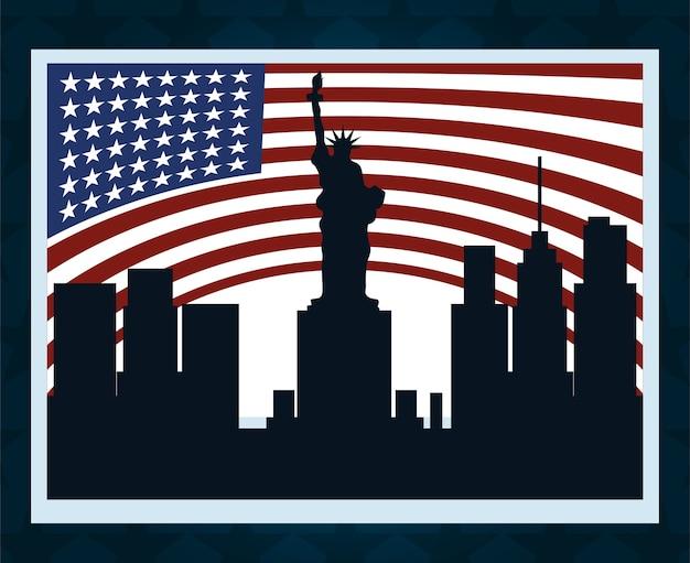 Lo striscione della bandiera americana della città di new york, il voto politico e le elezioni negli stati uniti, lo fanno contare illustrazione