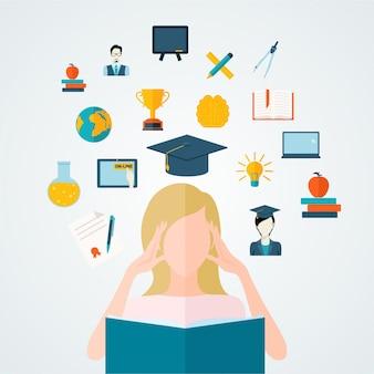 Lo studente della ragazza che legge il libro con istruzione e che studia i pensieri vector l'illustrazione