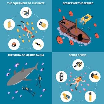 Lo studio dell'attrezzatura per l'immersione con bombole dei segreti marini della fauna del concetto di progetto isometrico del fondo marino ha isolato l'illustrazione di vettore