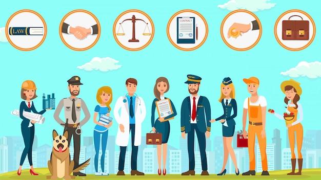 Lo studio legale protegge i diritti cittadini vector flat.