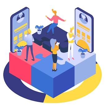 Lo sviluppo di applicazioni mobili, il team di persone crea un'interfaccia, illustrazione isometrica.