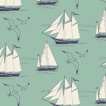 Lo yacht naviga l'oceano. seamless pattern