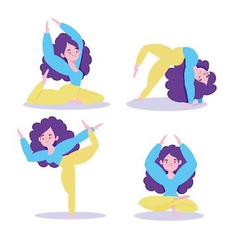 Lo yoga online, figure di donna che fanno yoga esercita il fumetto