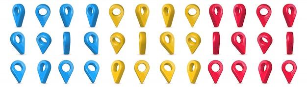 Localizzatore, pin puntatori della mappa 3d in vari angoli.