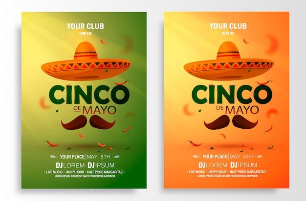 Locandina cinco de mayo. modello di marketing, pubblicità o invito con copia spazio per la celebrazione della festa in un bar, ristorante, discoteca o altri.