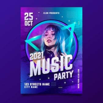 Locandina dell'evento musicale con foto per il 2021