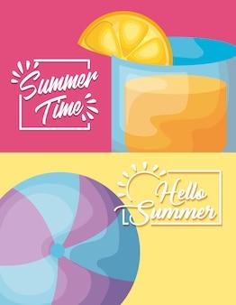 Locandina delle vacanze estive con cocktail e mongolfiera