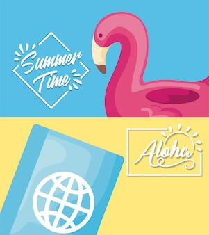 Locandina delle vacanze estive con galleggiante fiammingo e passaporto