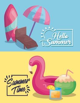 Locandina delle vacanze estive con tavola da surf e galleggiante fiammingo