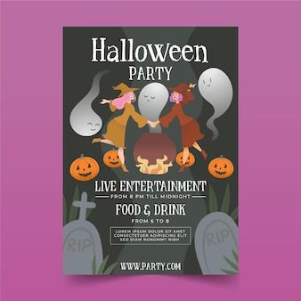 Locandina festa di halloween piatto