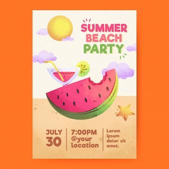 Locandina festa estiva dell'acquerello