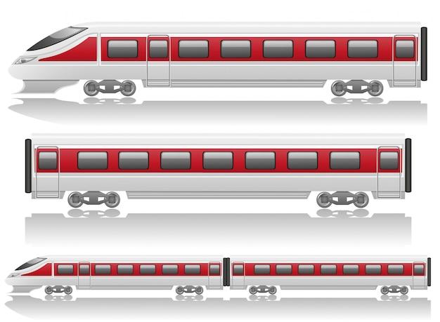 Locomotiva del treno velocità e illustrazione vettoriale vagone