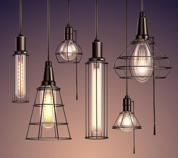 Loft edison vintage gabbia metallica che appende lampadine morbide incandescenti insieme realistico di varie forme