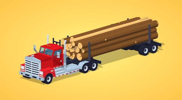 Log camion con la pila di tronchi