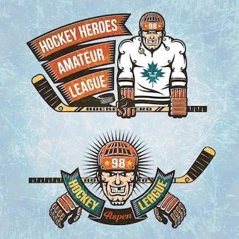 Loghi amatoriale hockey league. giocatore di hockey su ghiaccio con il bastone in mano e nastro vintage.