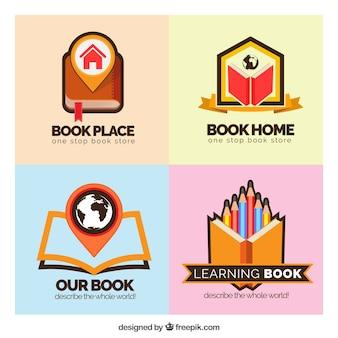 Loghi colorati libri in design piatto