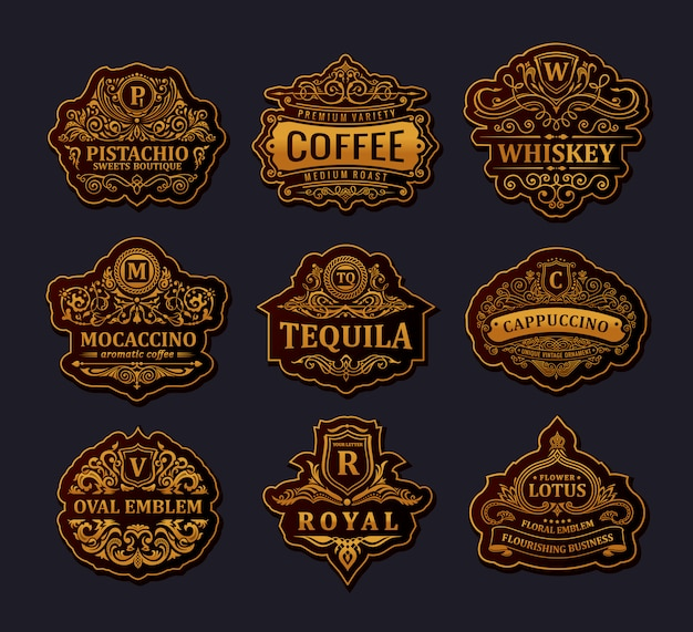 Loghi d'oro d'epoca e cornici di lusso emblemi