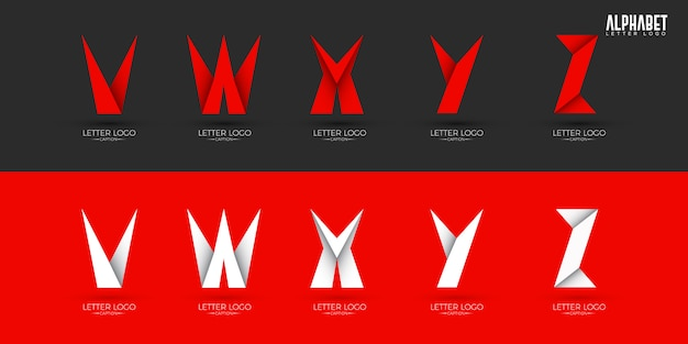 Loghi di alfabeto origami croccanti stile