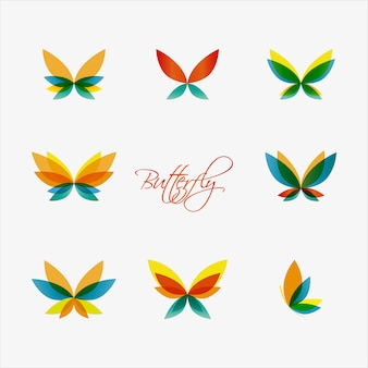 Loghi di farfalle colorate.