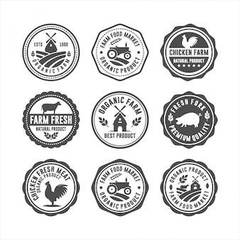 Loghi di francobolli freschi distintivo dell'azienda agricola