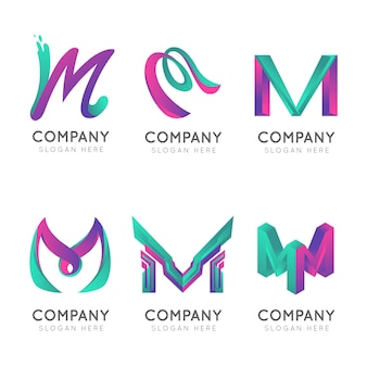 Loghi di lettera maiuscola aziendale gradiente m