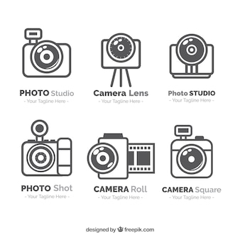 Loghi di pacchetti fotografici in stile lineare