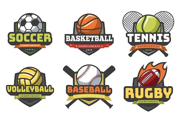 Loghi di palloni sportivi. sport logo palla calcio pallacanestro pallavolo calcio rugby tennis baseball distintivo emblemi squadra club