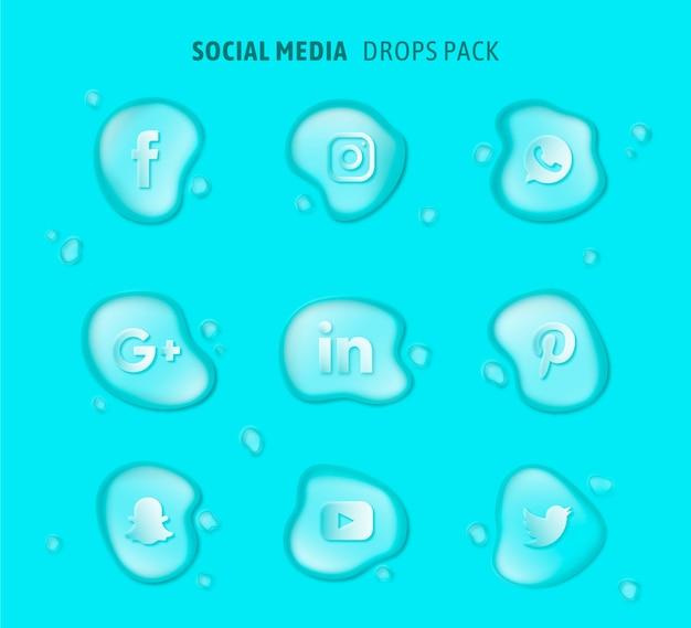 Loghi di social media pack vettore
