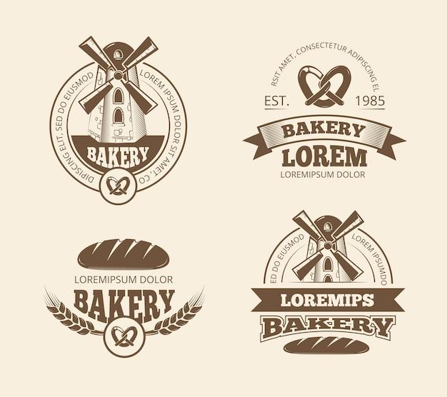 Loghi di stile retrò panetteria pane vecchio