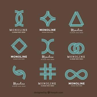 Loghi geometrici astratti in stile monoline