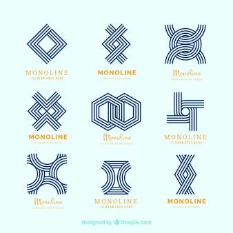 Loghi geometrici moderni in stile monolineo