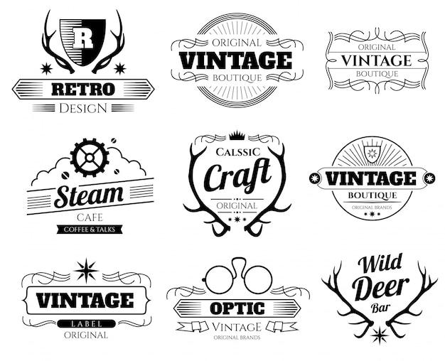 Loghi hipster vettoriale vintage