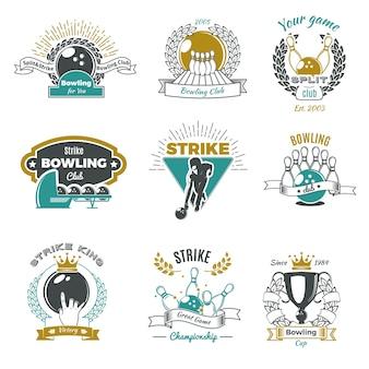 Loghi in stile vintage di club di bowling
