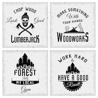 Loghi monocromatici di boscaiolo con citazioni strumenti di lavoro e foresta di abeti rossi