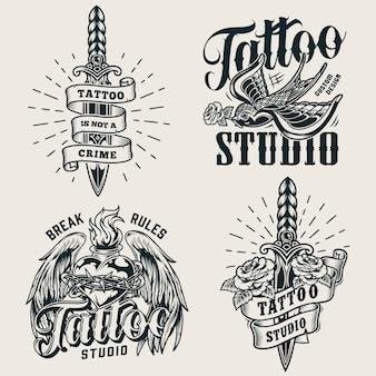 Loghi monocromatici di studio tatuaggio vintage