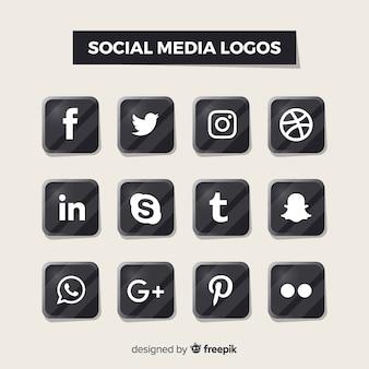 Loghi neri dei social media