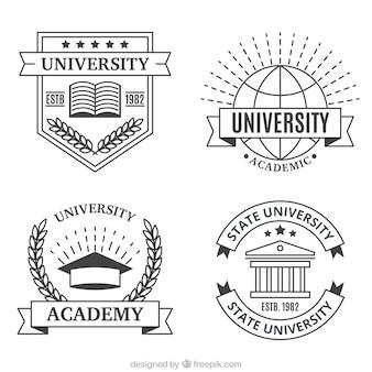Loghi realizzati con linee per l'università