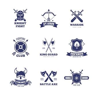 Loghi vintage spada e scudo guerriero. distintivi di vettore del cavaliere. loghi stemma araldico
